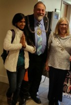 Kriti with the Mayor of Kingston, Geoff Austin, and his wife Sheila